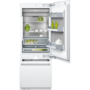 "Gaggenau400 series Two-door bottom freezer with integrated ice maker. Fully integrated Width 30"" (76.2 cm)"