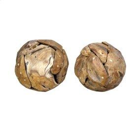 Weathered Wood Round Ball - Small