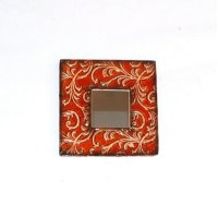 Embossed Red Metal Frame Mirror-10x10 Product Image