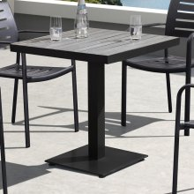 Armen Living Zander Outdoor Patio Dining Table in Gray Finished Cast Aluminum with Faux-Wood Top