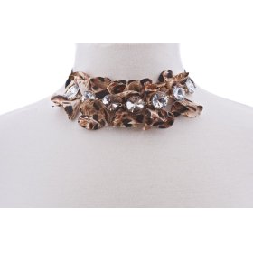 BTQ Leopard and Rhinestone Necklace