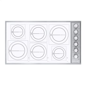 """Stainless Steel/White Glass 36"""" All-Induction Cooktop - VICU (36"""" wide, six induction elements)"""