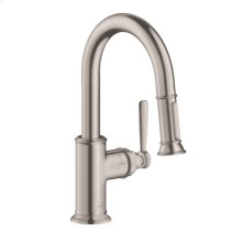 Steel Optic AXOR Montreux 2-Spray Prep Kitchen Faucet, Pull-Down, 1.75 GPM