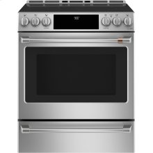 """Café 30"""" Slide-In Front Control Induction and Convection Range with Warming Drawer"""