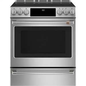 "Cafe AppliancesCaf(eback) 30"" Smart Slide-In, Front-Control, Induction and Convection Range with Warming Drawer"