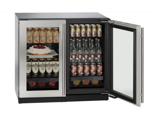 """36"""" Glass Door Refrigerator Stainless Frame Double Doors"""