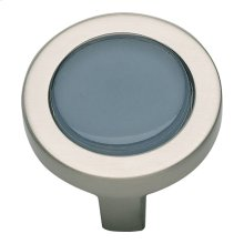 Spa Blue Round Knob 1 1/4 Inch - Brushed Nickel