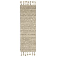 Natural Kilim 2'x6' Rug with Geo Top Stitch and Braided Tassels.