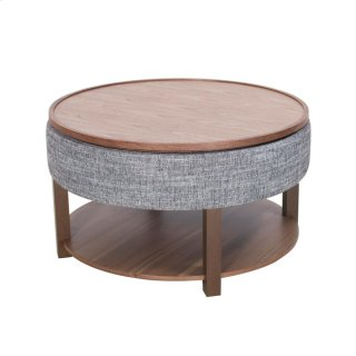 Neville KD Lift-Top Round Coffee Table w/ Storage, Ash Gray/Walnut