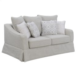 Loveseat W/3 Back Pillows +4 Accent Pillows-sand Beige Product Image