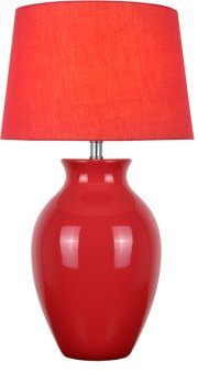 Table Lamp, Red Ceramic/red Fabric Shade, E27 Cfl 23w Product Image