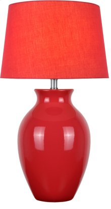 Table Lamp, Red Ceramic/red Fabric Shade, E27 Cfl 23w