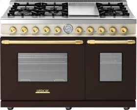 Range DECO 48'' Classic Brown dual color, Gold 6 gas, griddle and 2 gas ovens