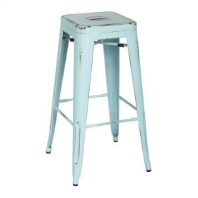 Metropolis Metal Backless Bar Stool, Distressed Aqua
