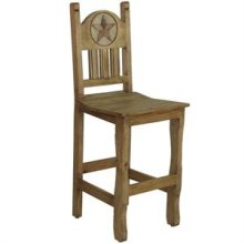 """17"""" x 43"""" x 24"""" Barstool W/Wood Seat & Stone Star Barstool with Wood Seat and Stone Star"""