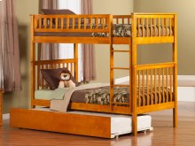 Woodland Bunk Bed Twin over Twin with Urban Trundle Bed in Caramel Latte