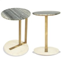 Round Side Table - Brushed Brass Finish