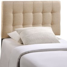 Lily Twin Tufted Upholstered Fabric Headboard in Beige
