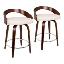 Grotto Counter Stool - Set Of 2 - Cherry Wood, White Pu