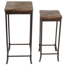 Trenton 2Pc Accent Table in Distressed Pine