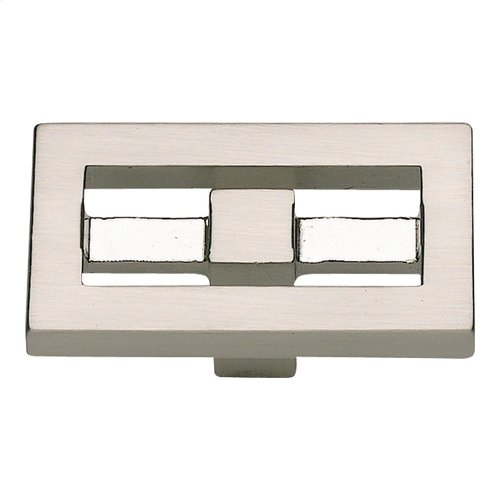 Nobu Rectangle Knob 1 3/4 Inch - Brushed Nickel