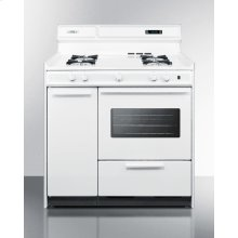 "Deluxe White Gas Range With Electronic Ignition, Clock/timer, and Oven Window With Light In 36"" Width; Replaces the Wtm4303ktw"