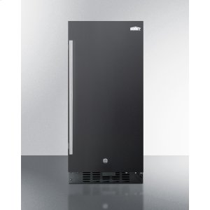 """Summit15"""" Wide ADA Compliant All-refrigerator for Built-in or Freestanding Use, With Digital Controls, LED Light, Lock, and Black Exterior Finish"""