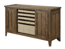 Sofa Table-w/storage-burnished Oak Finish-set Up