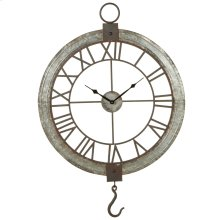 Galvanized Framed Wall Clock with Hook.