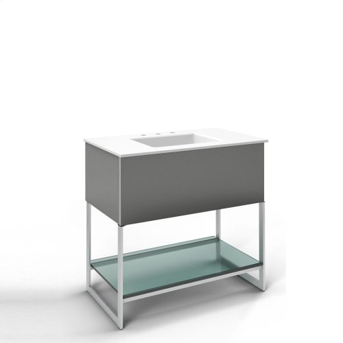 """Adorn 36-1/4"""" X 34-3/4"""" X 21"""" Vanity In Smoke Screen With Slow-close Plumbing Drawer, Legs In Brushed Aluminum and 37"""" Stone Vanity Top In Quartz White With Integrated Center Mount Sink and 8"""" Widespread Faucet Holes"""