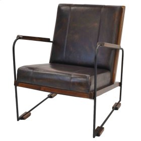 Denka Leather Accent Chair, Light Brown