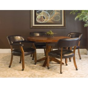 Castored Dining Set Antique Cherry w/ Dark Mocha Vinyl