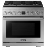 """DacorTransitional 36"""" Gas Range, Silver Stainless Steel, Natural Gas/Liquid Propane"""