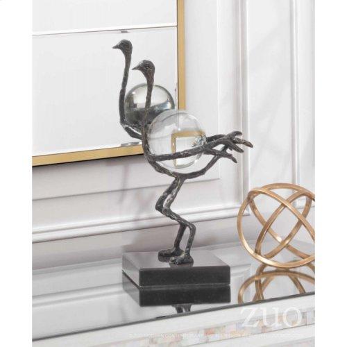Ostrich With Orb Dark Bronze