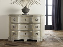 Ventian Commode, Painted Antique Grey W/ Gold Leaf Detailing. Antique Brass Hardware.