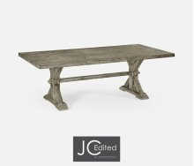 "90"" Solid Rustic Grey Dining Table"