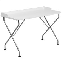 White Computer Desk with Raised Border and Silver Metal Frame