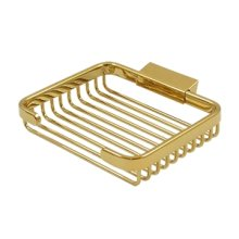 "Wire Basket, 6"" Rectangular Soap Holder - PVD Polished Brass"