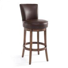 "Armen Living Boston 26"" Counter Height Swivel Wood Barstool in Chestnut Finish and Kahlua Pu"