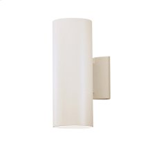 2 Light Outdoor Wall Cylinder WHT