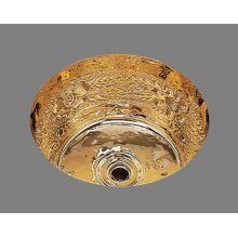 B0575 - Small Round Bar Sink - Garland Pattern - Antique Brass