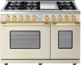 Range DECO 48'' Classic Cream matte, Gold 6 gas, griddle and 2 gas ovens