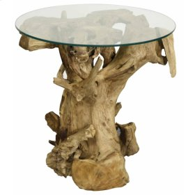 Rego Side Table w/ Glass Top, Natural