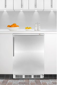 Built-in undercounter all-freezer capable of -25° C operation, with wrapped stainless steel door and thin handle