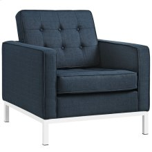 Loft Upholstered Fabric Armchair in Azure