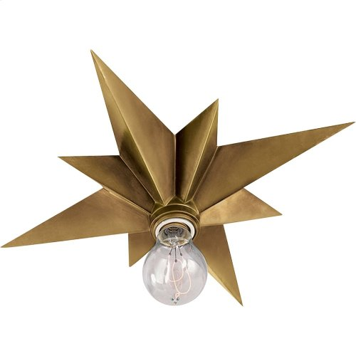 Visual Comfort SC4000HAB Eric Cohler Star 1 Light 15 inch Hand-Rubbed Antique Brass Flush Mount Ceiling Light