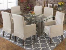 Hampton Road Rect Glass Top Dining Table With Four X Back Chairs