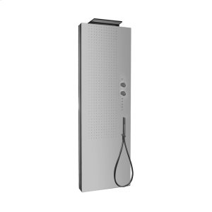 Multifunctional free-standing shower panel with waterfall showerhead and mirror