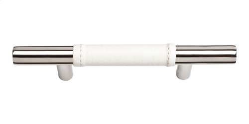 Zanzibar White Leather Pull 3 Inch (c-c) - Polished Chrome