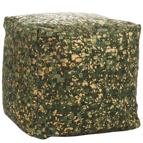 Natural Leather Hide S2186 Green Copper 16 X 16 X 16 Poufs